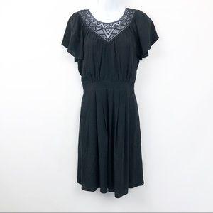Rebecca Taylor Crochet Neck Dress Size 4 Black